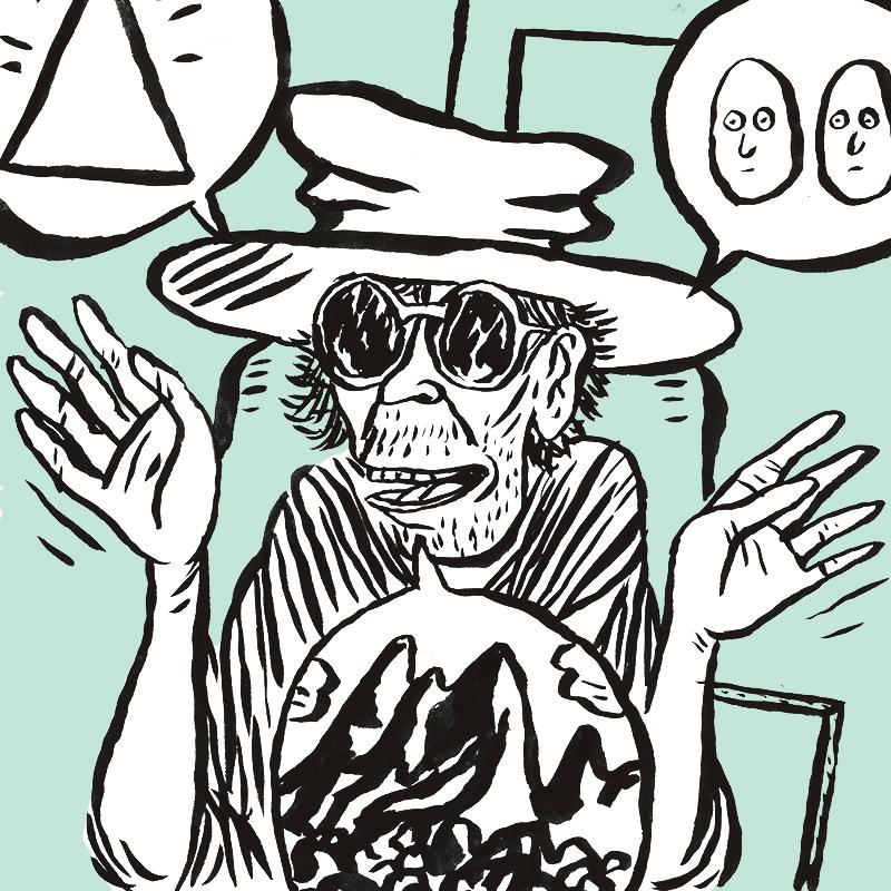 Un homme exubérant s'exprime. Il a un large chapeau sur la tête, de très grosses lunettes, une barbe de trois jours, et ses mains s'agitent autour de lui. Plusieurs bulles de dessins apparaissent. Dans l'une d'elles, en haut à gauche, un triangle trône.  Dans la bulle en haut à droite, deux visages identiques sont côte à côte. Dans celle du bas, au milieu, un paysage montagneux se déploie.