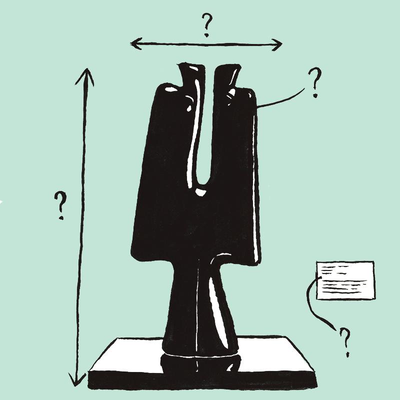 Une sculpture noire contemporaine repose sur un socle carré. Un tronc central constitue la base de l'œuvre à partir duquel s'étendent deux branches verticales cylindriques parallèles. Des lignes fléchées ainsi que des points d'interrogations entourent l'œuvre, et une étiquette rectangle blanche est positionnée près d'elle.