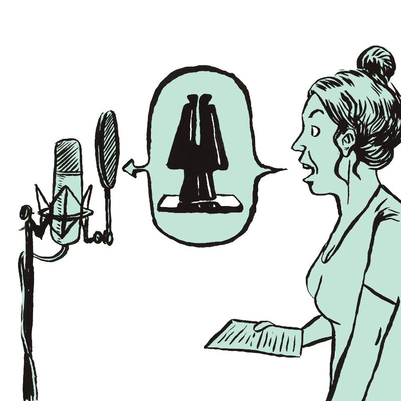 À gauche, un micro sur pied est équipé d'un filtre circulaire. A droite, face au micro, la jeune femme de profil tient une feuille dans la main droite. Entre la bouche ouverte de la jeune femme et le micro, le dessin de la sculpture contemporaine occupe une bulle fléchée en direction du micro.