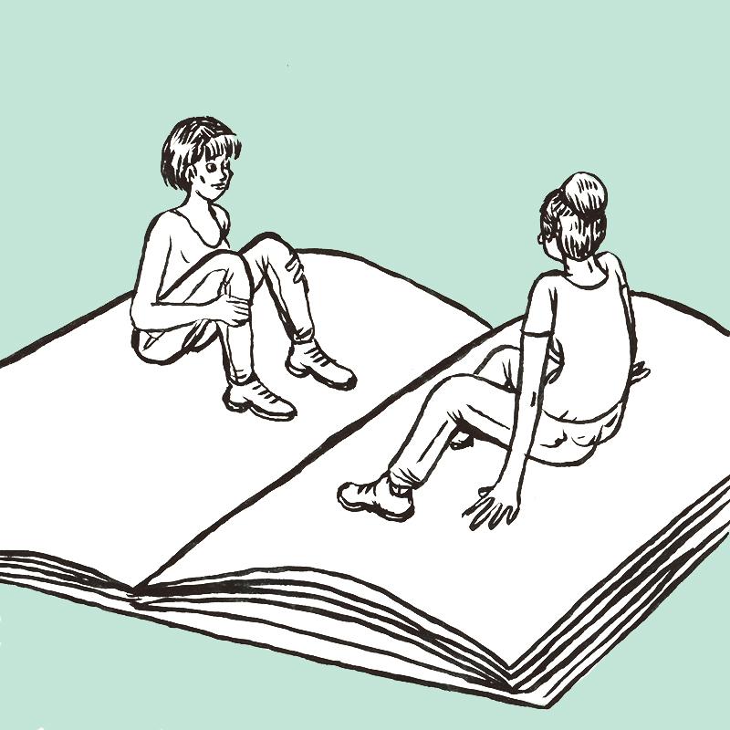 Un grand livre est ouvert, légèrement de biais à droite. Sur la page gauche, une femme les cheveux au carré, est assise, genoux relevés. Face à elle, sur la page droite, de dos, une jeune femme aux cheveux relevés en large chignon.