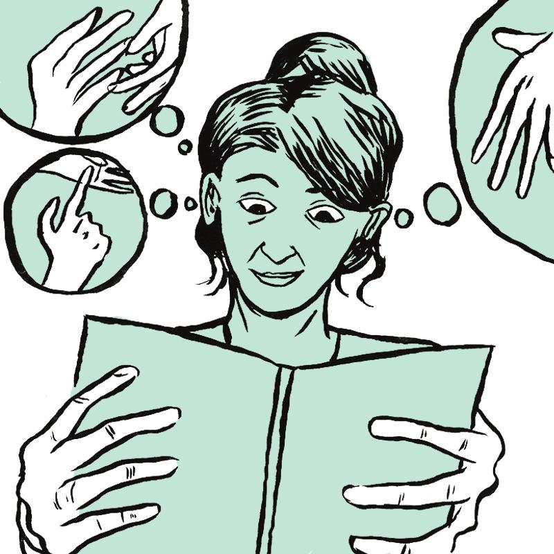 Au centre, la jeune femme au chignon, intriguée, tient un livre ouvert devant elle. Ses doigts sont posés sur la couverture du livre. Au-dessus de sa tête, trois bulles contiennent des dessins de mains en mouvement.