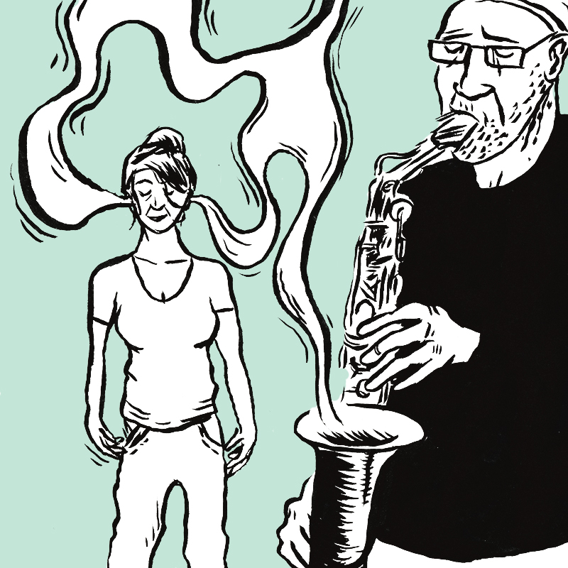 À gauche, la jeune femme au chignon a les yeux fermés, les bras le long du corps. A droite, un saxophoniste joue. Des volutes de fumée blanche sortent du pavillon de l'instrument et voyagent jusqu'aux oreilles de la jeune femme.