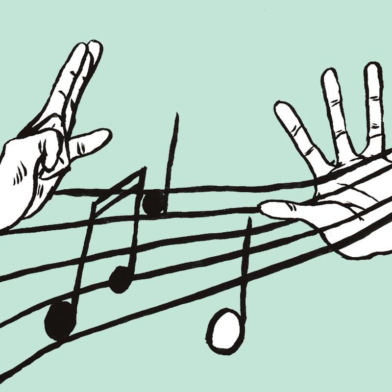 Sur une portée de partition, des notes de musique noires et blanches sont dessinées. Deux mains pincent les lignes de la portée, comme s'il s'agissait des cordes d'une guitare.