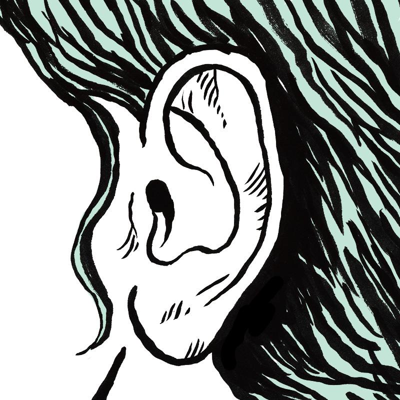 L'oreille de la femme apparaît en gros plan. Les cheveux noirs sont disposés derrière l'oreille, parfaitement dégagée.
