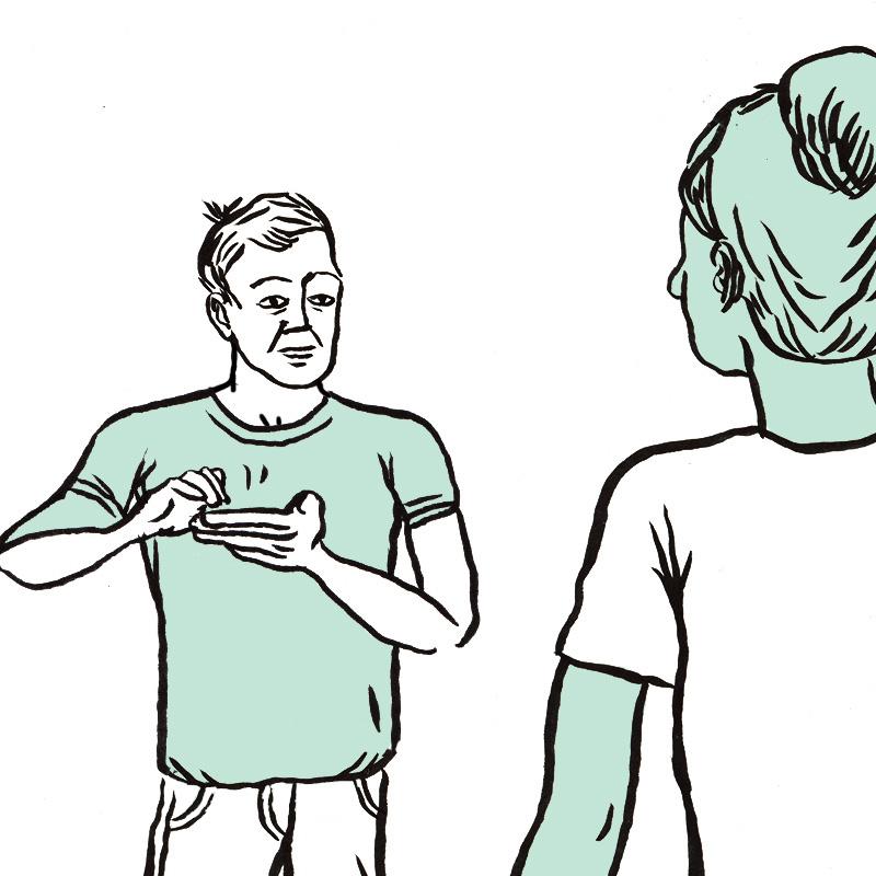 Un spectateur et la jeune femme ont une conversation en langue des signes. Le spectateur est représenté de face, les mains en mouvement. Il s'adresse à la jeune femme représentée de dos.