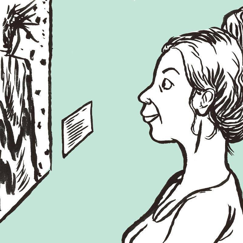 À gauche, un tableau est accroché au mur. On y distingue le buste d'un personnage. A droite, de profil, une jeune femme souriante avec un large chignon l'observe, fascinée.