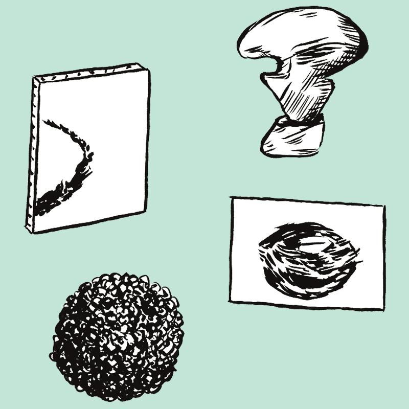 4 œuvres sont représentées. En haut à gauche, une toile avec une trace courbe noire; en haut à droite, une sculpture contemporaine sur socle. En bas à gauche, une sculpture ronde ornée de petits grains; en bas à droite, un rectangle blanc sur lequel apparaît un dessin noir de forme ovale couchée.