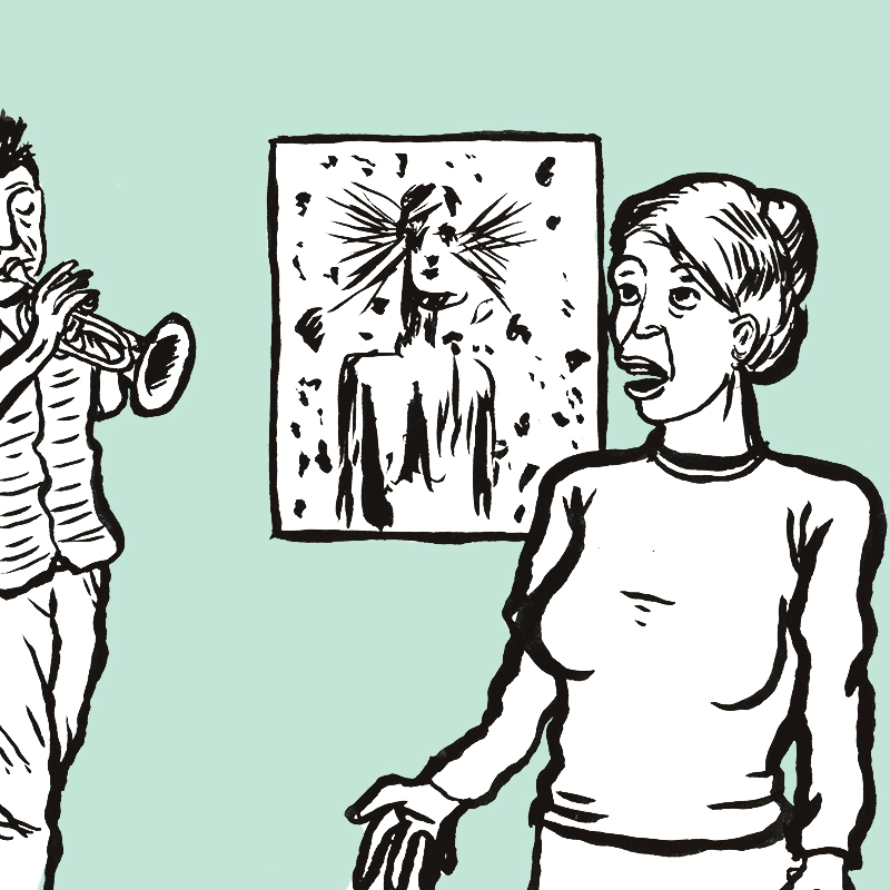 La toile du personnage sombre est accrochée au mur, devant, à droite, la jeune femme au chignon s'exprime, une main tendue. A gauche, un trompettiste joue.