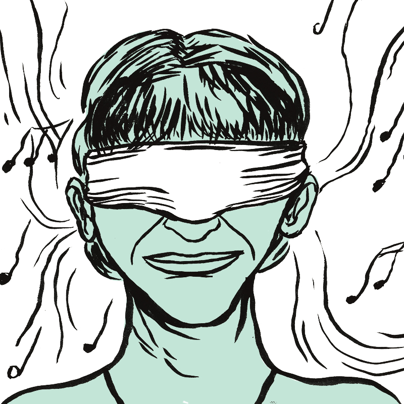 Le visage d'un spectateur serein a un bandeau sur les yeux. Des notes de musiques sont dessinées autour de sa tête. Des lignes noires courbes naissent près des oreilles du visiteur.